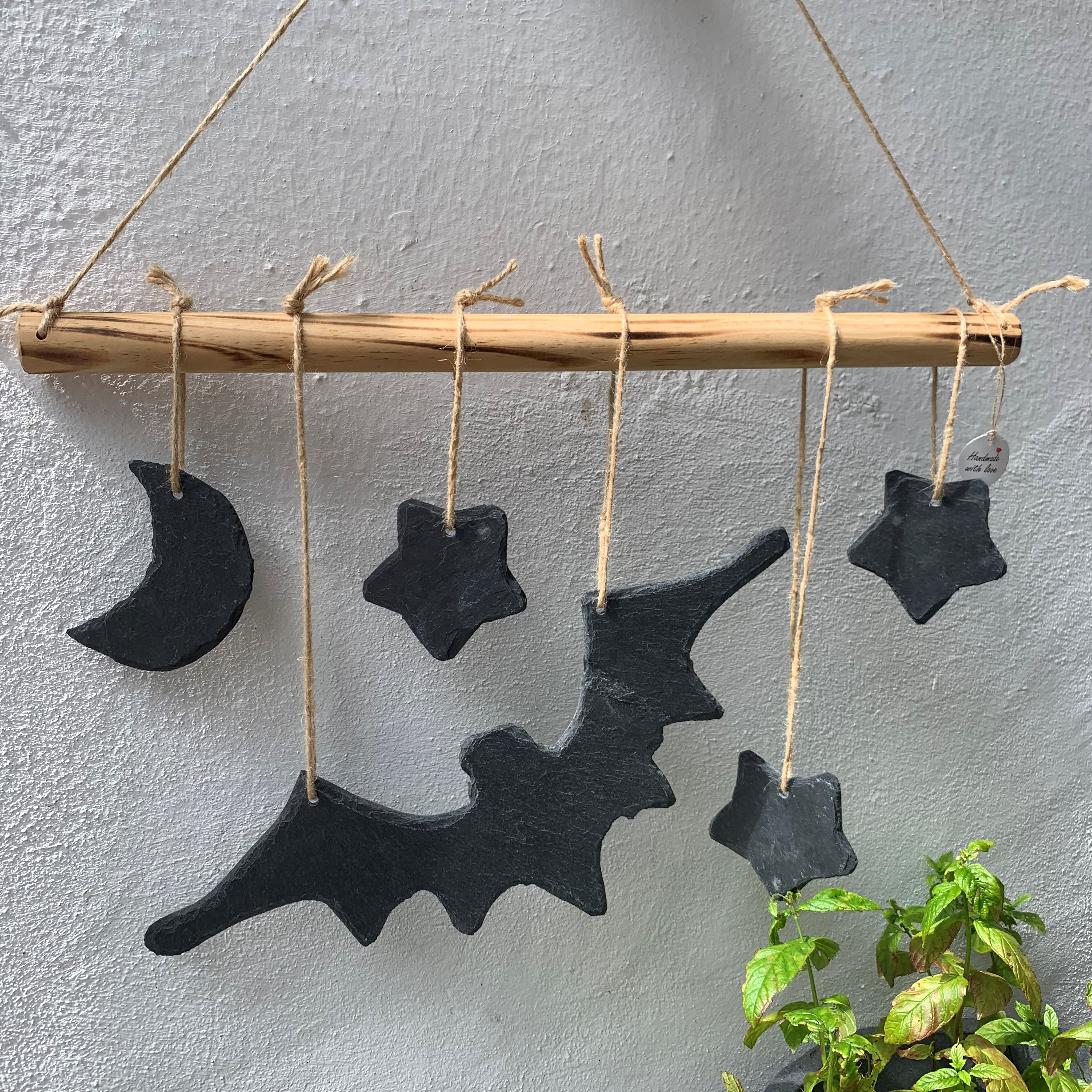 Fensterschmuck aus Schiefer Herbst/ Halloween Deko