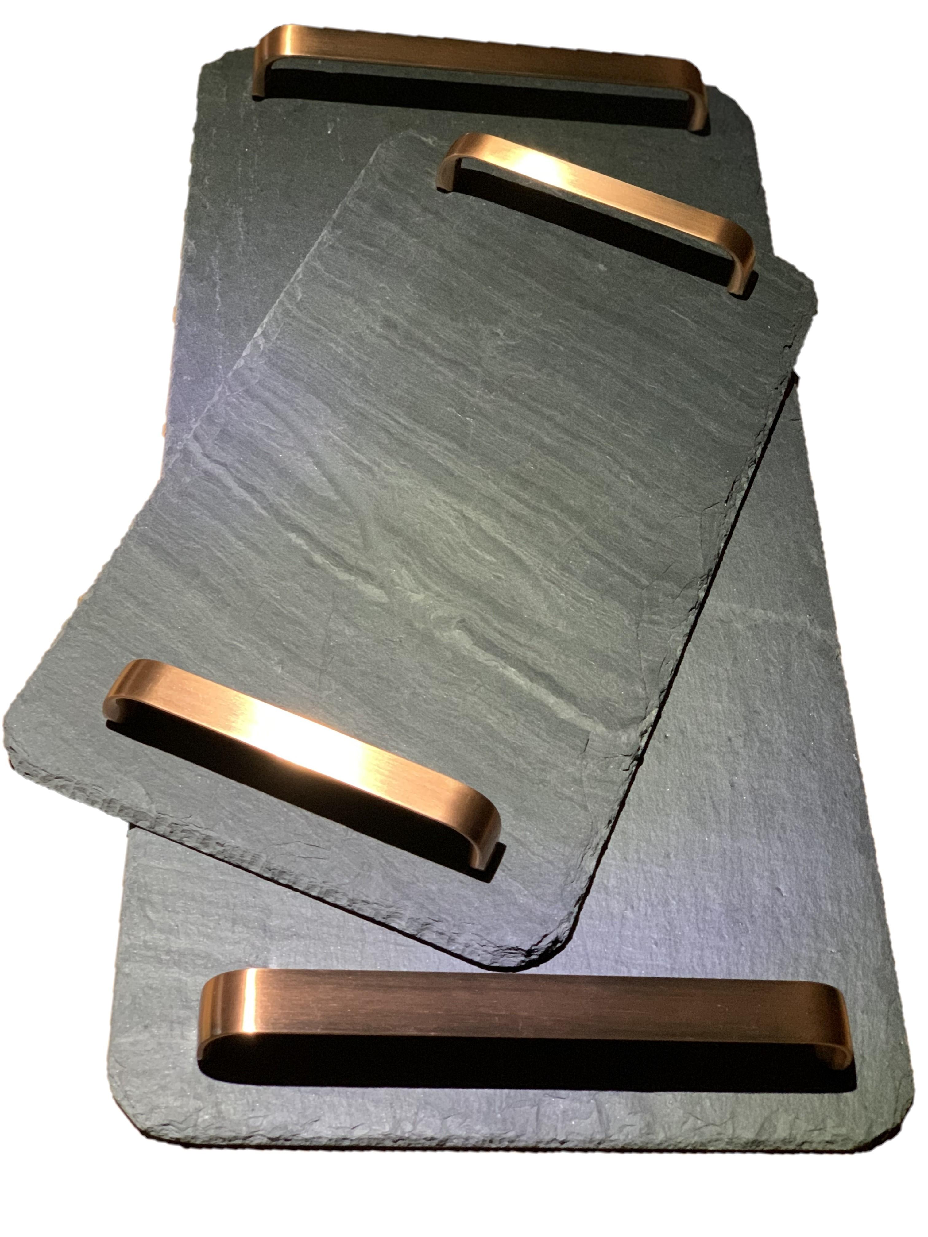 Schiefer Servierplatte rechteckig, versch. Griffe zur Wahl