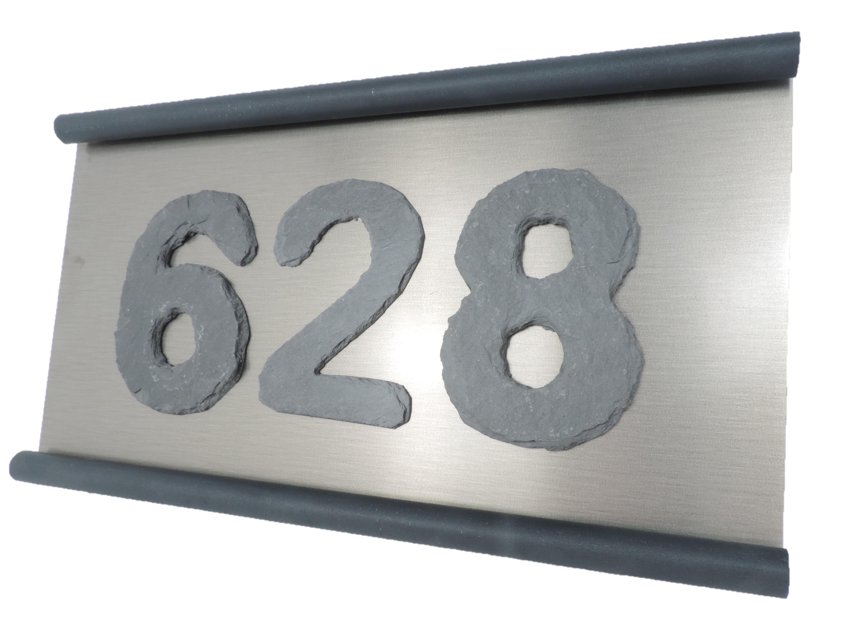 Schiefertürschild mit 3 Zahlen