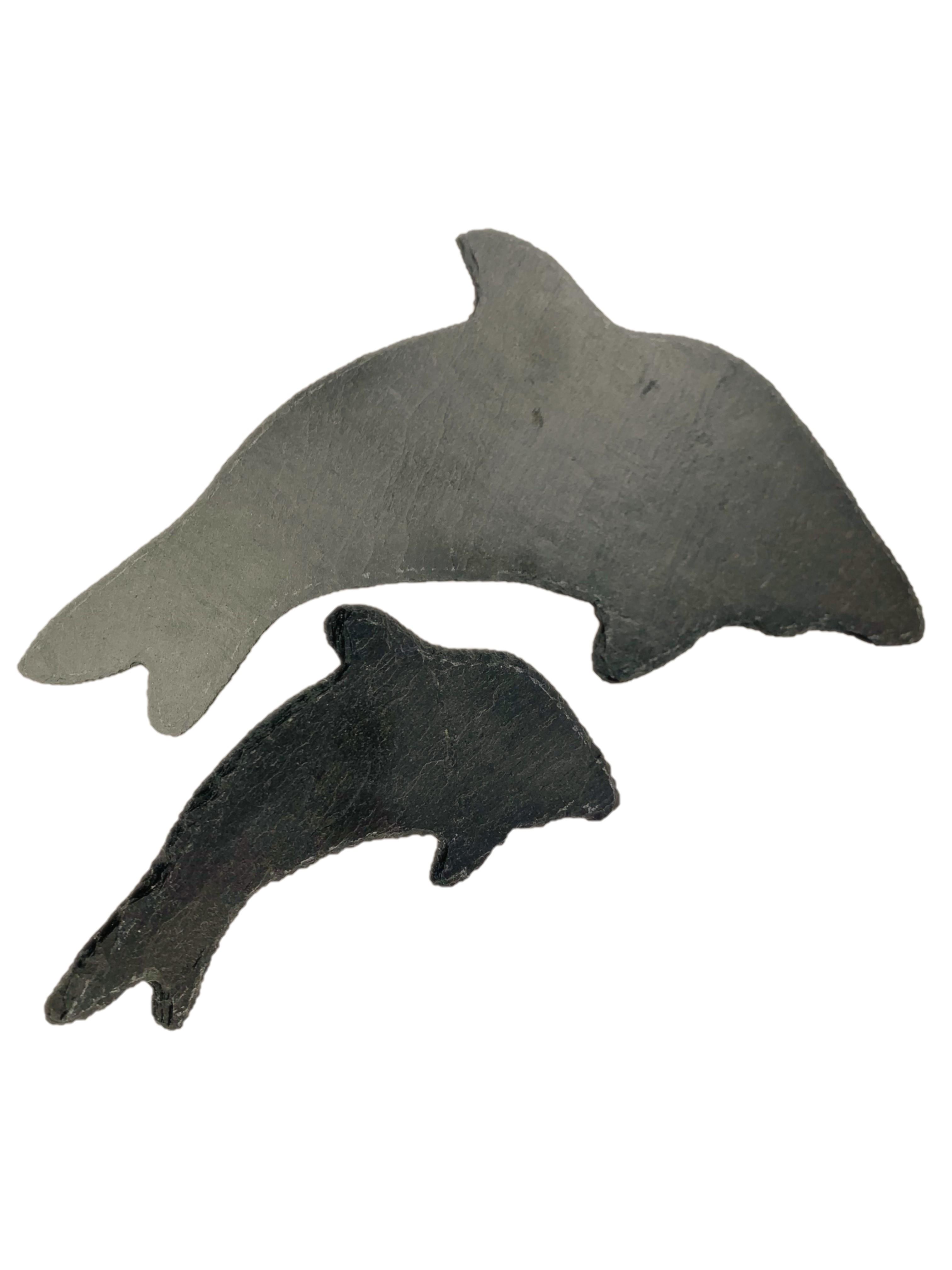 Delfine aus Schiefer Dekoration handgefertigt