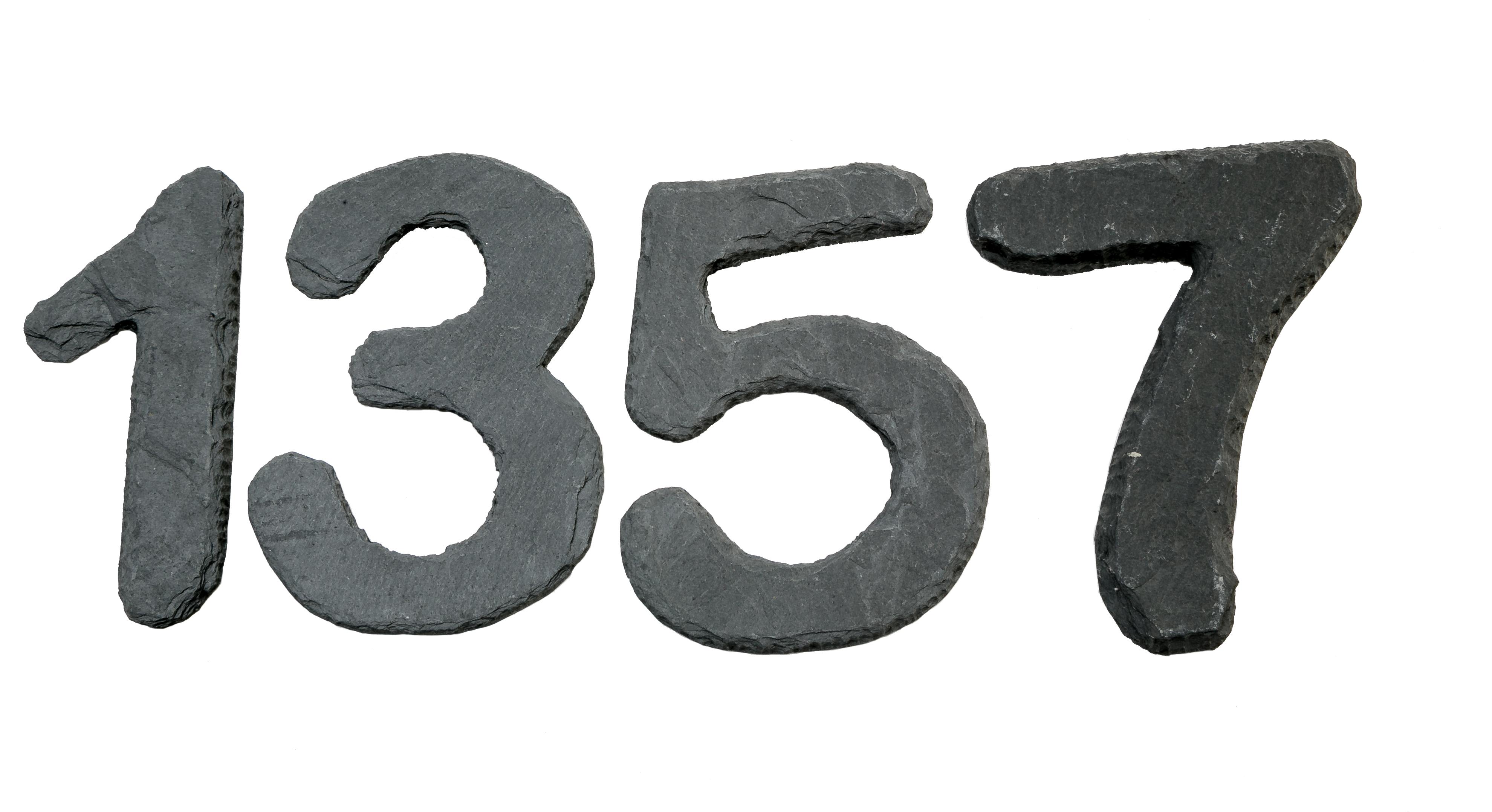 Schieferdeko Schiefer Zahlen handgefertigt 14 x 10,5 cm