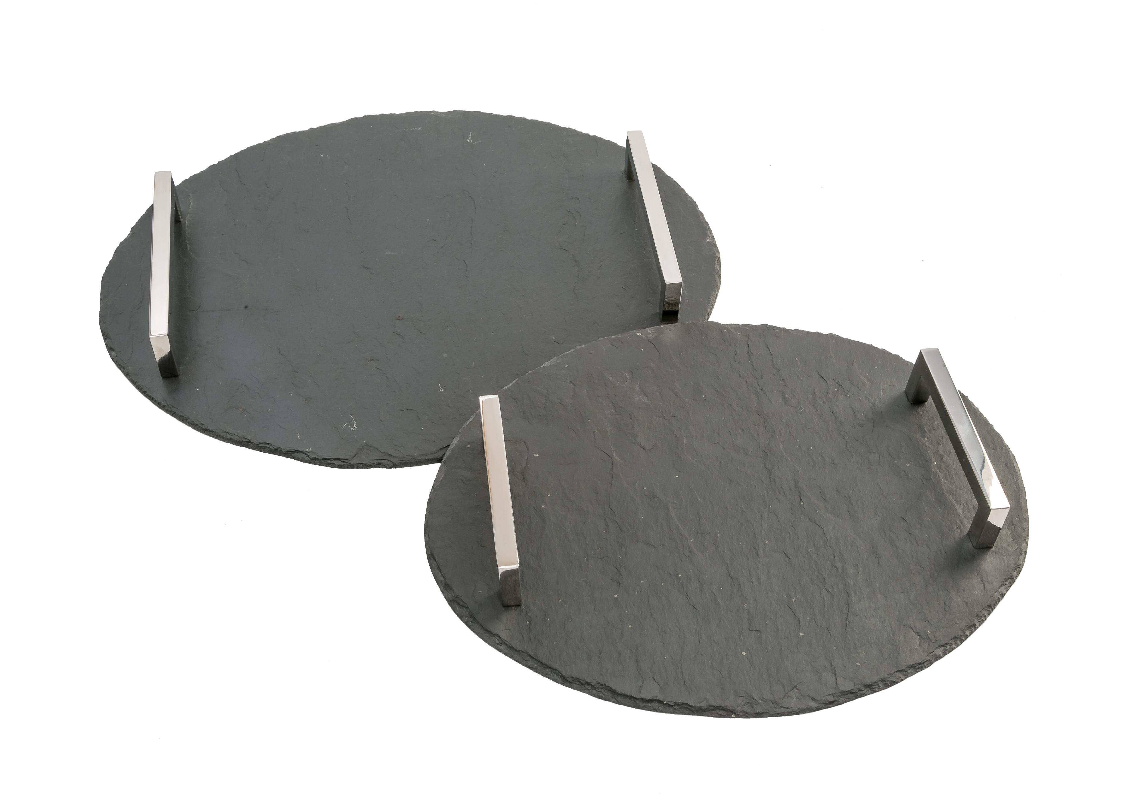Schieferplatte oval mit verschiedenen Griffen
