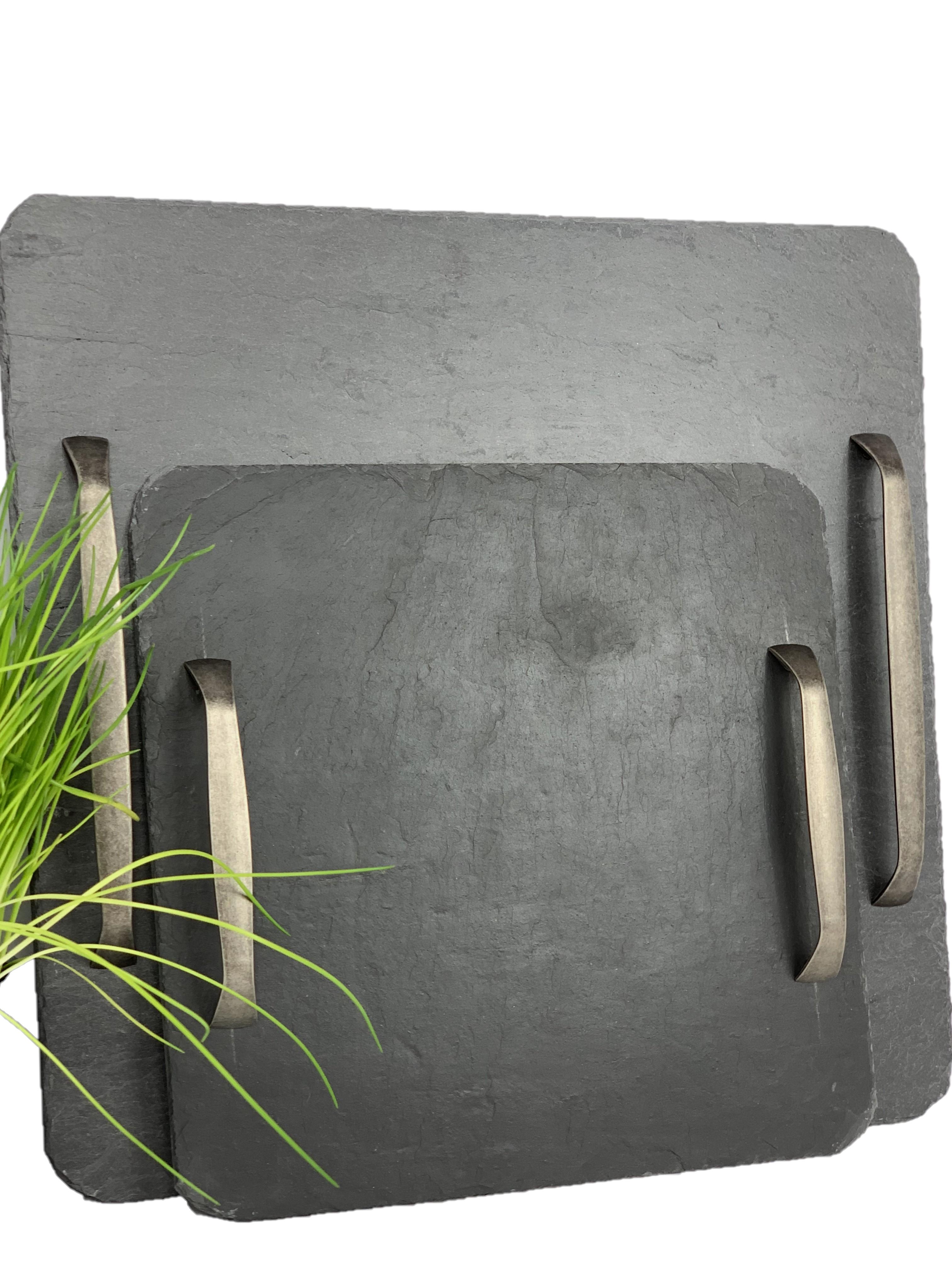 Schiefer Servierplatte quadrat, versch. Griffe zur Wahl